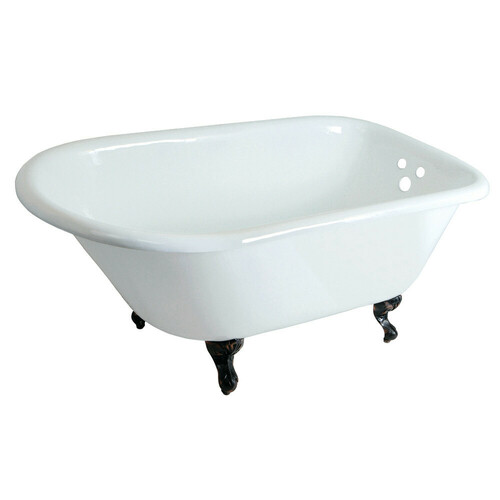 Kingston Brass VCT3D483018NT5 48-Inch Cast Iron Roll Top Clawfoot Tub with 3-3/8 Inch Wall Drillings, White/Oil Rubbed Bronze