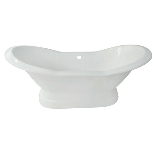 Kingston Brass VCTND723130 72-Inch Cast Iron Double Slipper Pedestal Tub (No Faucet Drillings), White