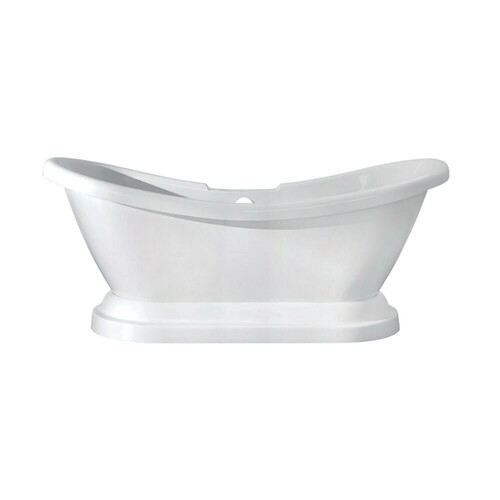 Kingston Brass VT7DS692828P 69-Inch Acrylic Double Slipper Pedestal Tub with 7-Inch Faucet Drillings, White