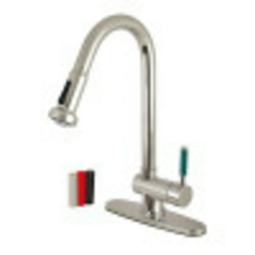 Kingston Brass GS8888DGL Green Eden Single-Handle Pull-Down Kitchen Faucet, Brushed Nickel