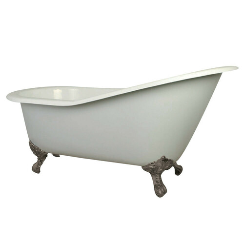 Kingston Brass VCT7D653129B8 61-Inch Cast Iron Single Slipper Clawfoot Tub with 7-Inch Faucet Drillings, White/Brushed Nickel
