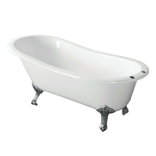 Kingston Brass VCT7D673122ZB1 67-Inch Cast Iron Single Slipper Clawfoot Tub with 7-Inch Faucet Drillings, White/Polished Chrome