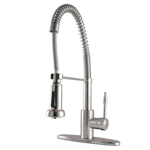 Kingston Brass GSY8888NKL Nustudio Single-Handle Pre-Rinse Kitchen Faucet, Brushed Nickel