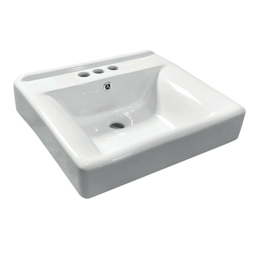 Kingston Brass EV2018W34 Concord Ceramic Recessed Drop-In Bathroom Sink, White