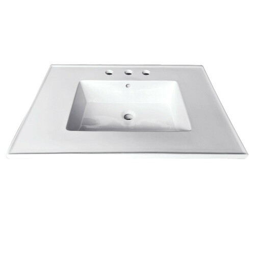 Kingston Brass LBT25227W34 Continental 25-Inch X 22-Inch Ceramic Vanity Top with Integrated Basin 3H, White