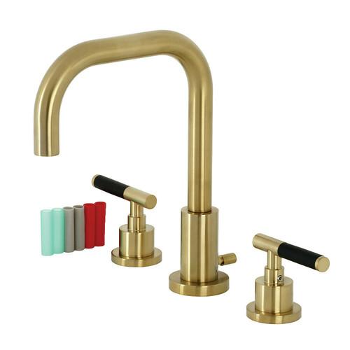 Kingston Brass FSC8933CKL Kaiser Widespread Bathroom Faucet with Brass Pop-Up, Brushed Brass