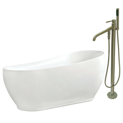 Kingston Brass KTRS723432A8 71-Inch Acrylic Single Slipper Freestanding Tub Combo with Faucet and Drain, White/Brushed Nickel