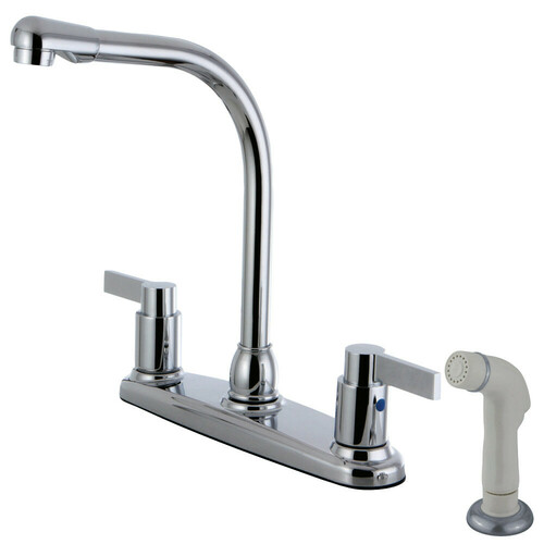 Kingston Brass FB2751NDL NuvoFusion 8-Inch Centerset Kitchen Faucet with Sprayer, Polished Chrome