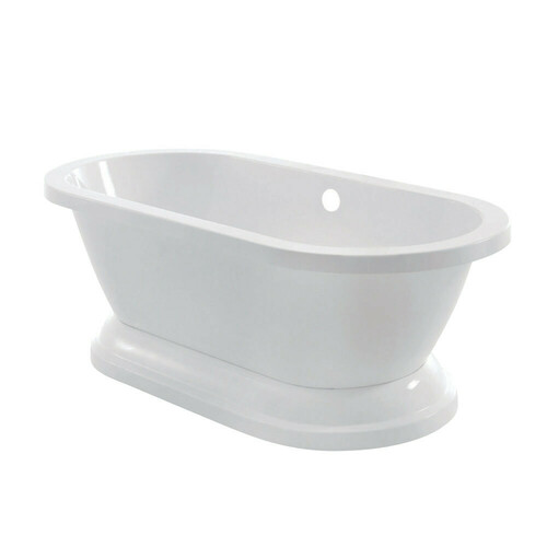 Kingston Brass VTPE672824P 67-Inch Acrylic Double Ended Pedestal Tub (No Faucet Drillings), White
