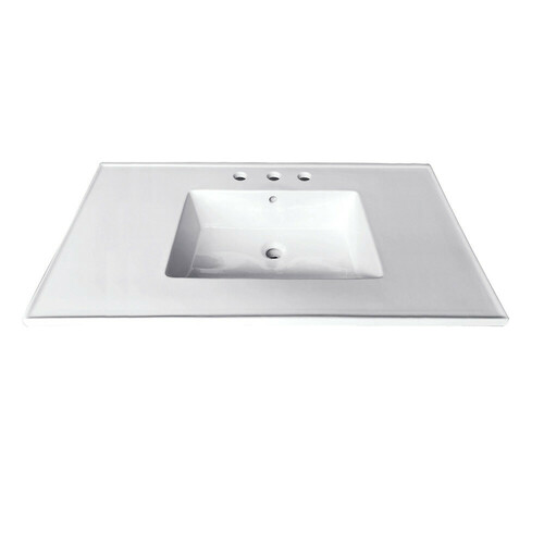 Kingston Brass LBT31227W34 Continental 31-Inch X 22-Inch Ceramic Vanity Top with Integrated Basin 3H, White