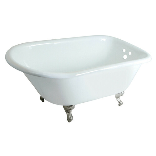 Kingston Brass VCT3D483018NT8 48-Inch Cast Iron Roll Top Clawfoot Tub with 3-3/8 Inch Wall Drillings, White/Brushed Nickel