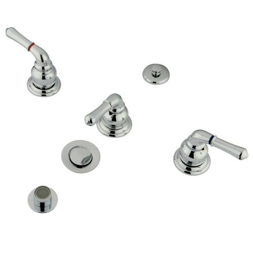 Kingston Brass KB321 Magellan Bidet Faucet with Lever Handles & Brass Pop-Up, Polished Chrome