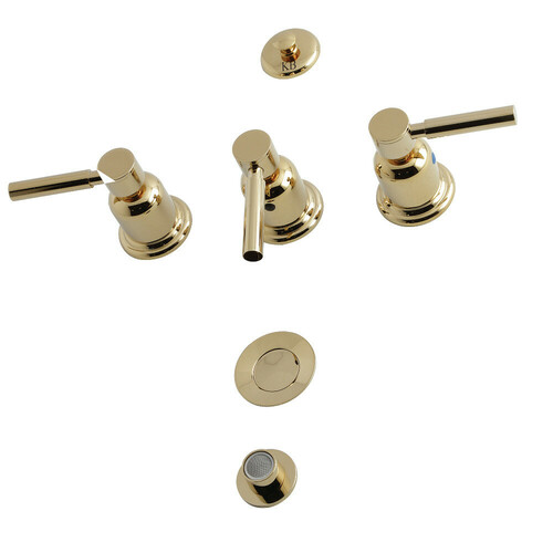 Kingston Brass KB6322DL 3-Handle Bidet Faucet, Polished Brass