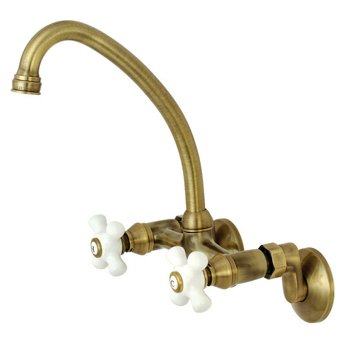 Kingston Brass KS614AB Kingston Two Handle Wall Mount Bathroom Faucet, Antique Brass