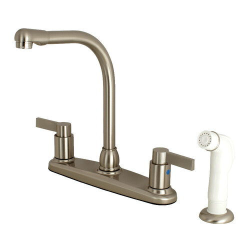 Kingston Brass FB2758NDL NuvoFusion 8-Inch Centerset Kitchen Faucet with Sprayer, Brushed Nickel