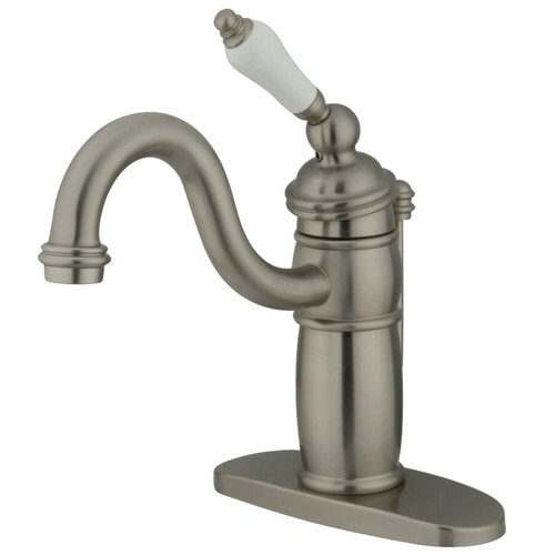 Kingston Brass KB1408PL Victorian Single-Handle Bathroom Faucet with Pop-Up Drain, Brushed Nickel