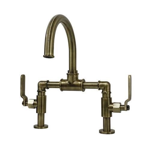 Kingston Brass KS2173KL Whitaker Industrial Style Bridge Bathroom Faucet with Pop-Up Drain, Antique Brass