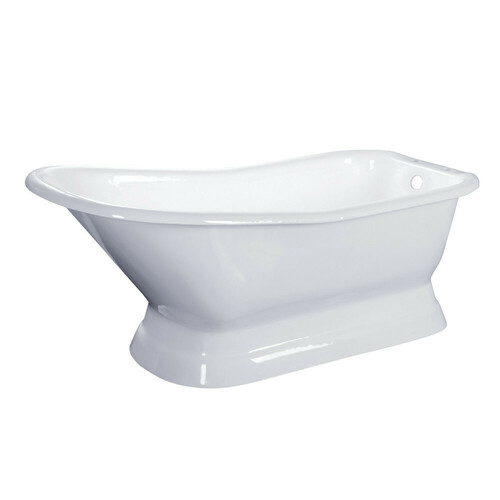 Kingston Brass VCT7D663028 66-Inch Cast Iron Single Slipper Pedestal Tub with 7-Inch Faucet Drillings, White