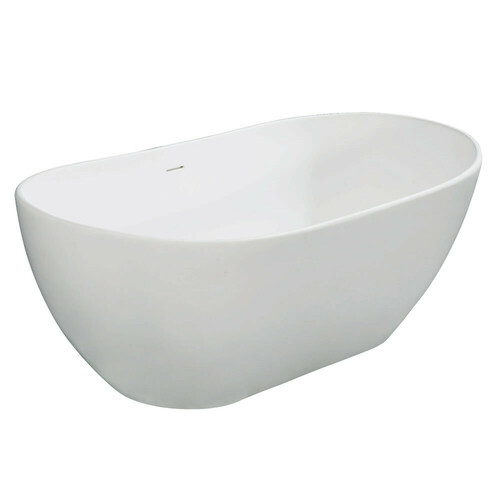 Kingston Brass VRTRS653224 Arcticstone 65-Inch Solid Surface White Stone Freestanding Tub with Drain, Matte White