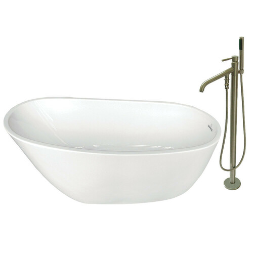 Kingston Brass KTRS592928A8 59-Inch Acrylic Single Slipper Freestanding Tub Combo with Faucet and Drain, White/Brushed Nickel