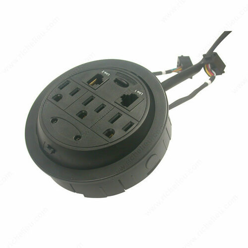 Richelieu 100413090 Round Power Station with Three Outlets