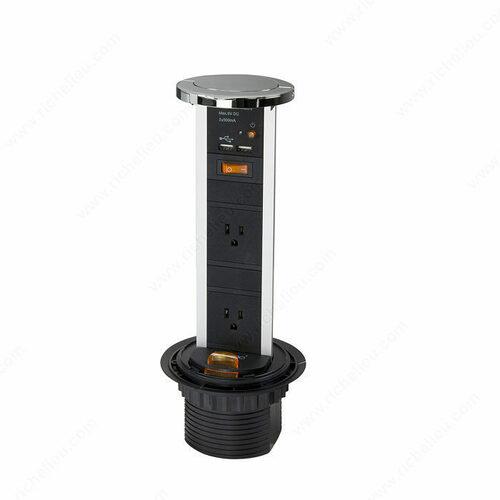 Richelieu 100492140 Richelieu 2-Plug Pop-Up Power Bar
