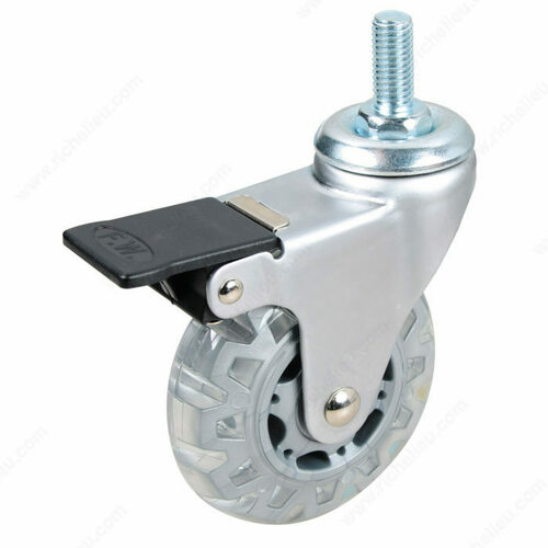 Richelieu 27584020502 Contemporary Clear White/Gray Stem Furniture Caster - Threaded Stem