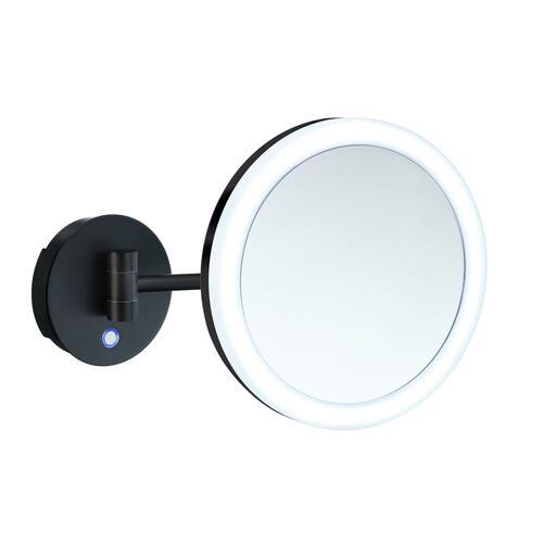 Smedbo FK485EBP 5X Shaving/Make Up Mirror with Battery Led Light, Black