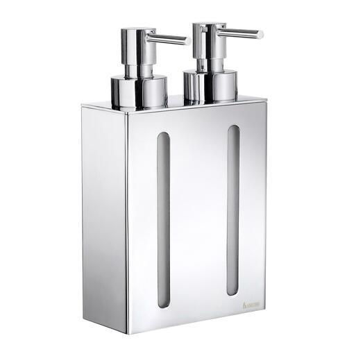 Smedbo FK258 Wall Mount Soap Dispenser with 2 containers, Polished Chrome