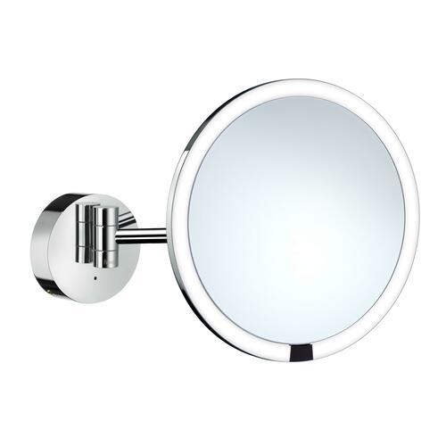 Smedbo FK487EP 7X Shaving/Make-Up Mirror with Battery LED Light, Chrome