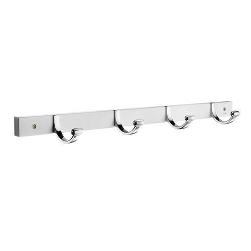 Smedbo BX1050 4 Hooks Coat Rack, Polished Chrome/White Wood