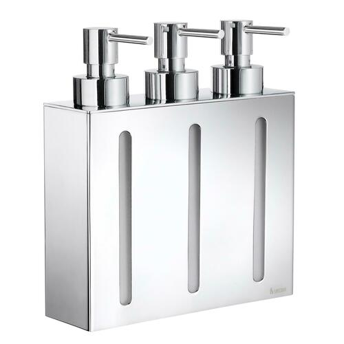 Smedbo FK259 Wall Mount Soap Dispenser with 3 containers, Polished Chrome