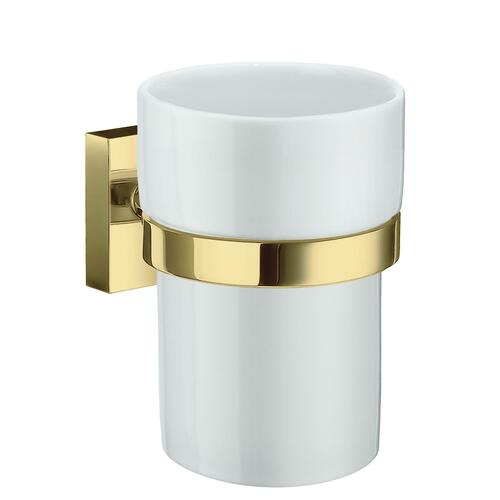 Smedbo RV343P White Porcelain Tumbler, Polished Brass
