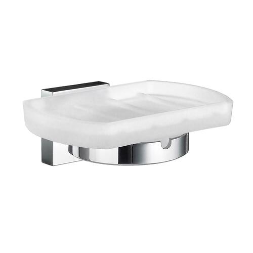 Smedbo RK342 Frostedd Glass Soap Dish, Polished Chrome
