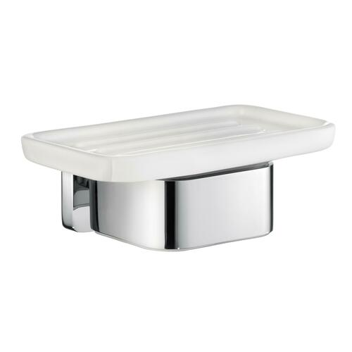 Smedbo OK442P Soap Dish Holder, Polished Chrome/Porcelain