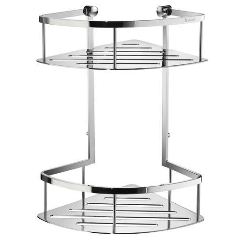 Smedbo DK3032 Double Corner Shower Basket, Polished Chrome