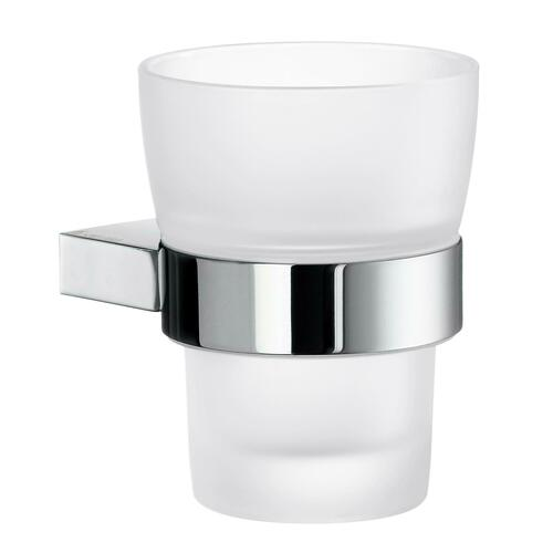 Smedbo AK343 Holder with Tumbler Frosted Glass, Polished Chrome