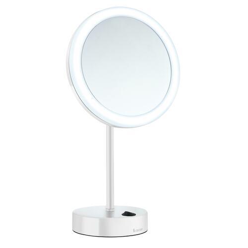 Smedbo FK484EWP 5X Shaving/Make Up Mirror with Warm/Cool Led Light, White