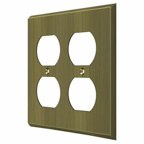 Deltana SWP4771U5 Switch Plate, Quadruple Outlet, Antique Brass